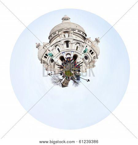 Spherical View Of Basilica Sacre Coeur In Paris