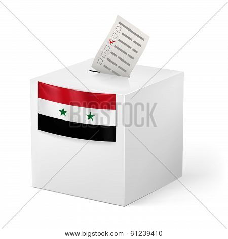 Ballot box with voting paper. Syria