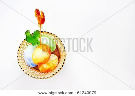 Bright Easter With Eggs And Cockerel Lollipops