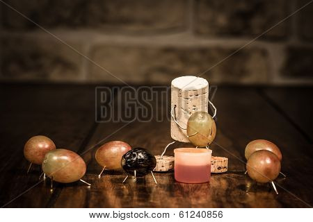 Wine Cork Figure, Concept Man Squeezing Out Grapes
