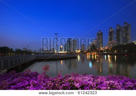 Landscape Of Beautiful Water Pool Important Landmark Of City Life In Bangkok Capital Of Thailand Vie