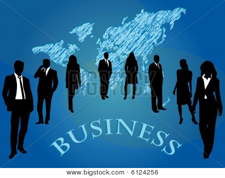 Vector illustration of business people with map