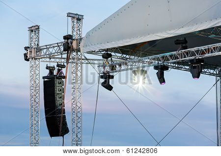 Set Of Powerful Speakers With Spotlights And Stage