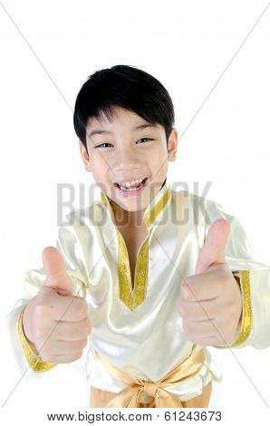 Asian Happy Boy In Thai Costume On White Background .