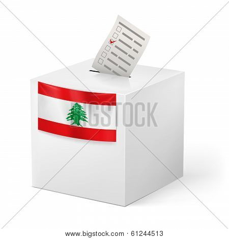 Ballot box with voting paper. Lebanon
