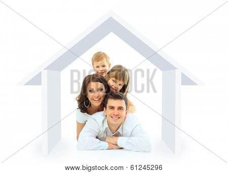 Happy family in their own home concept