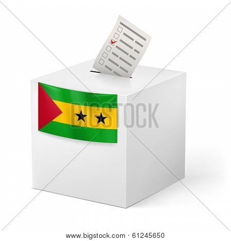 Ballot box with voting paper. Sao Tome and Principe