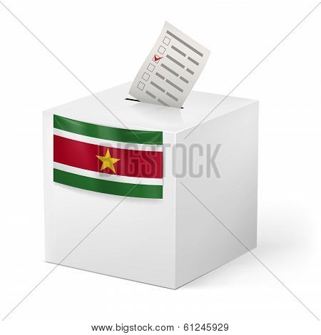 Ballot box with voting paper. Suriname