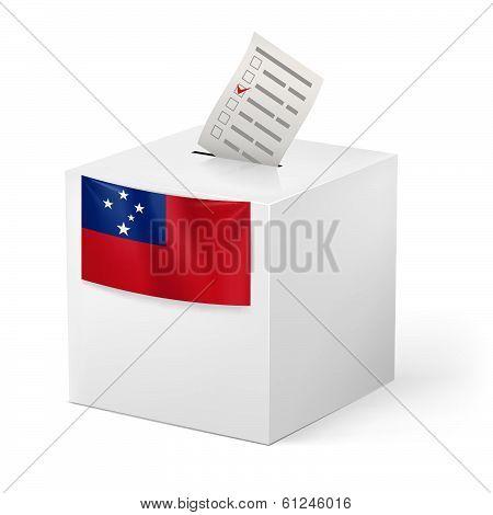 Ballot box with voting paper. Samoa