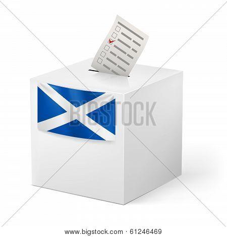 Ballot box with voting paper. Scotland