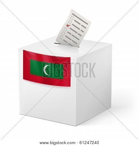 Ballot box with voting paper. Republic of the Maldives