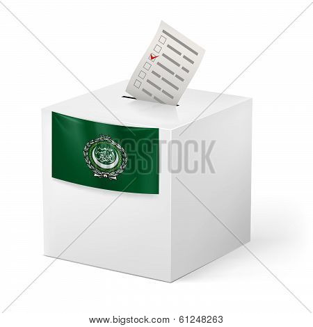 Ballot box with voting paper. Arab League
