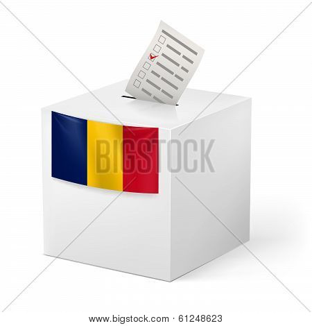 Ballot box with voting paper. Romania