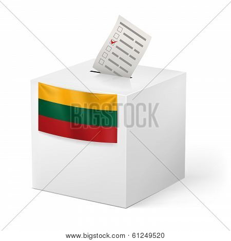 Ballot box with voting paper. Lithuania