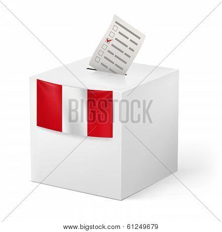 Ballot box with voting paper. Peru