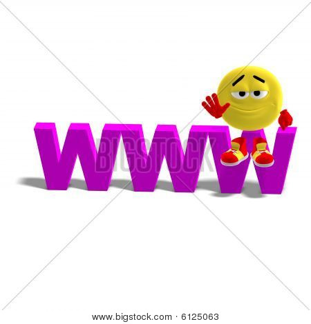 Cool And Funny Emoticon Is Sitting On The The Top Of The Www