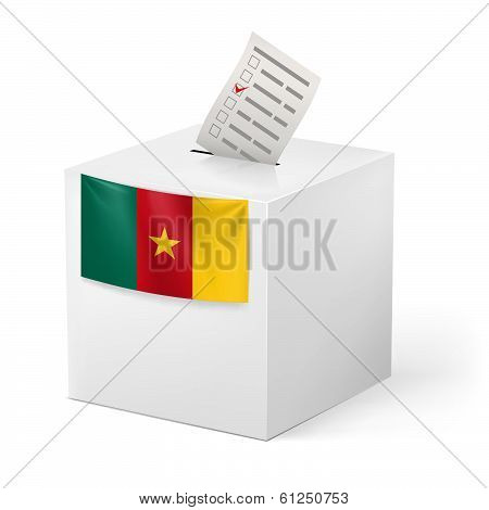 Ballot box with voting paper. Cameroon
