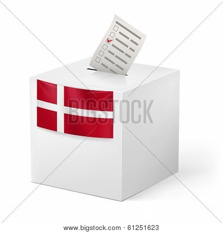 Ballot box with voting paper. Denmark