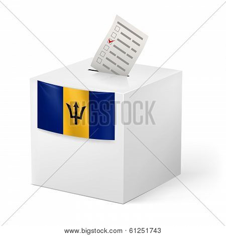 Ballot box with voting paper. Barbados