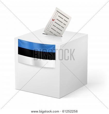 Ballot box with voting paper. Estonia