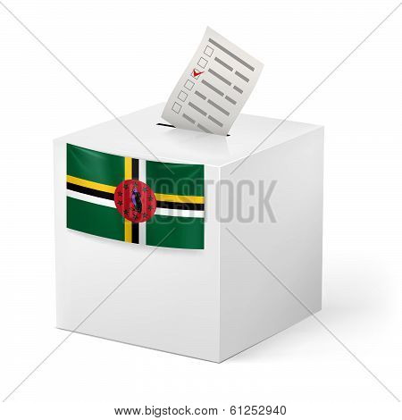 Ballot box with voting paper. Dominica