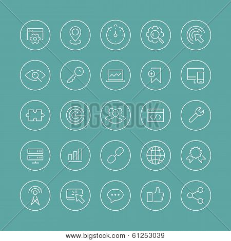 Seo Services Thin Line Icons Set