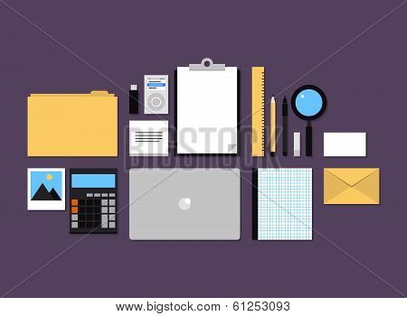 Office Accessories Flat Icons Set