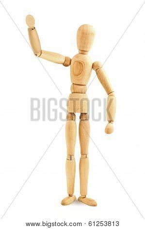 Wooden Mannequin Waving
