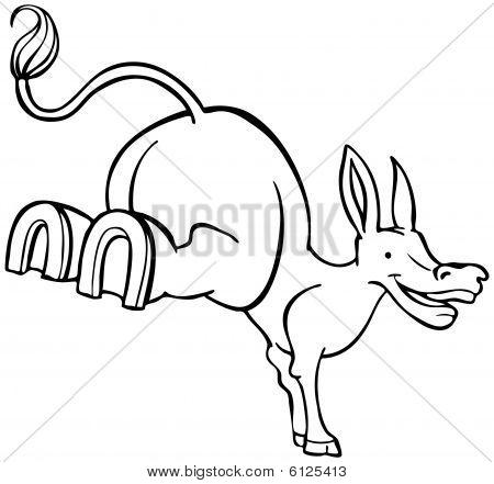 Stubborn Mule Cartoon Line Art