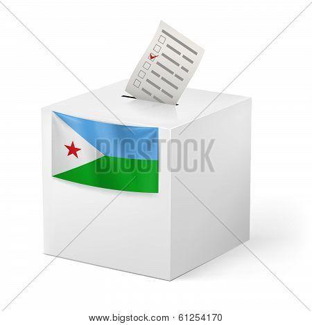 Ballot box with voting paper. Djibouti