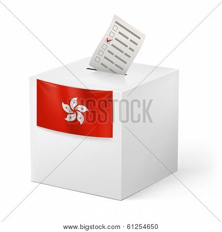 Ballot box with voicing paper.
