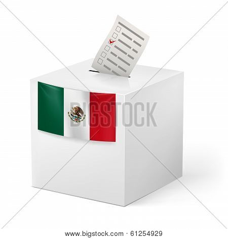 Ballot box with voicing paper. Mexico