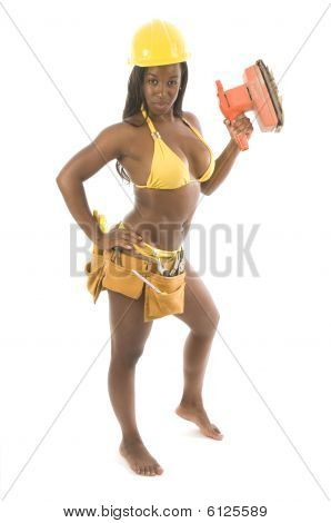 Young Pretty Hispanic African American Woman Contractor Bikini And Tools