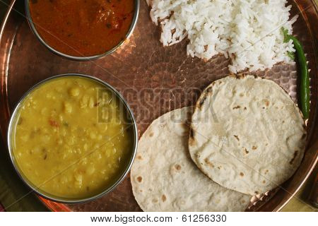 Gujarati Tuvar Dal dish with rice and roti