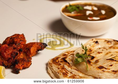 Paratha with paneer and kebab.