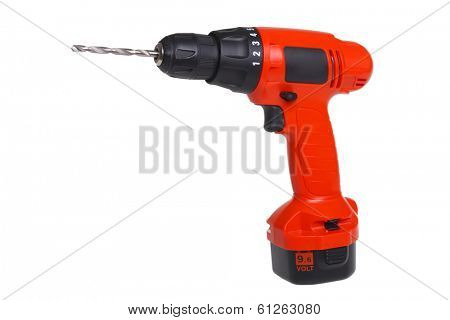 Cordless power drill tool, cutout, isolated on white background