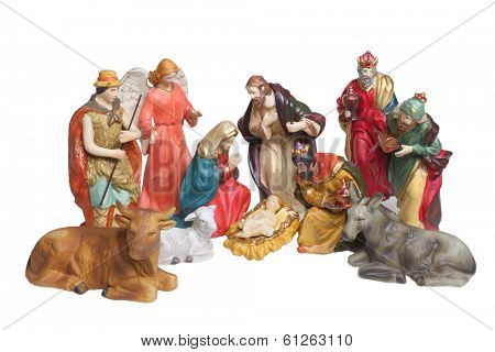 Nativity scene figures, cutout, isolated on white background