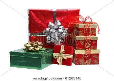 Assortment of presents on white