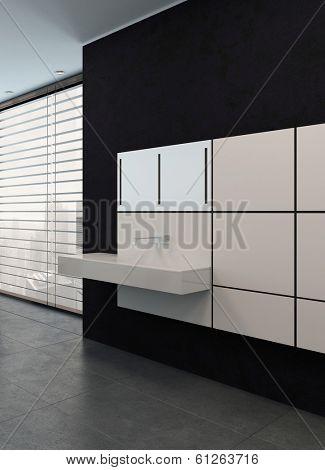 black bathroom with white modern washbowl
