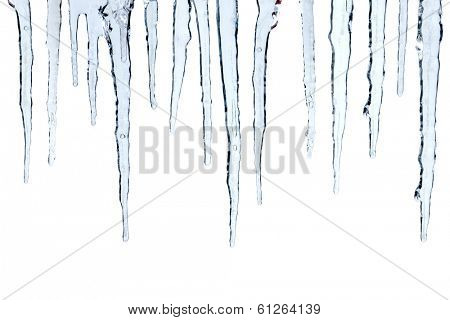 Icicles cut out, isolated on white background