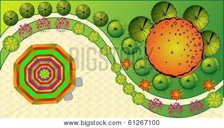 Colored vector Landscape Plan with treetop symbols