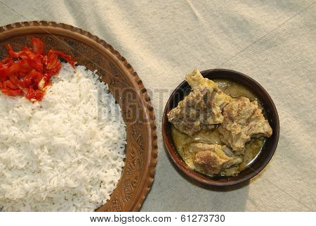 Yakhni kashmiri mutton curry from India