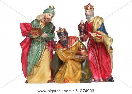 Three wisemen nativity scene figures cutout, isolated on white background