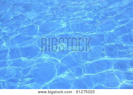 Close up abstract pattern of blue pool water