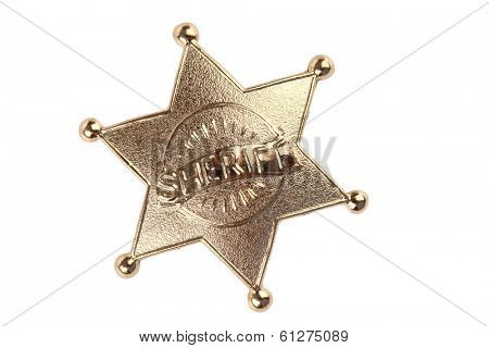 Sheriff badge cutout, isolated on white background