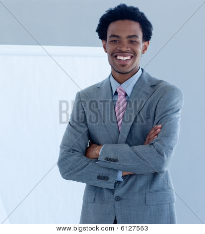 Confident Afro-american Businessman In A Presentation
