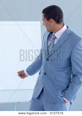 Young Businessman Giving A Presentation