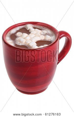 Mug of hot cocoa with marshmallows, cutout, isolated on white background