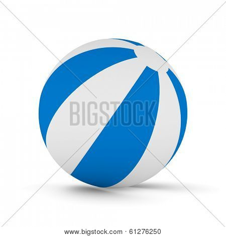 Striped ball on white background. Isolated 3D image