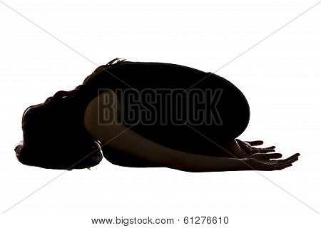 Woman Doing Childs Pose In Yoga, Silhouette